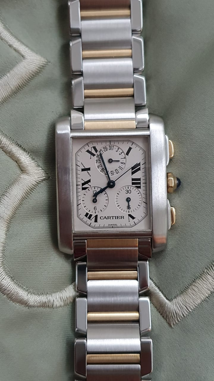 Cartier Tank Steel Gold Chronograph Men's Watch